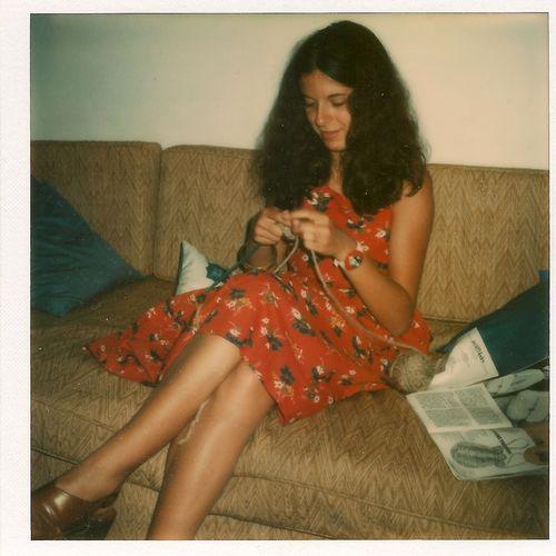Laura knitting Cannes full