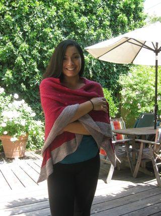 Red grey shawl3
