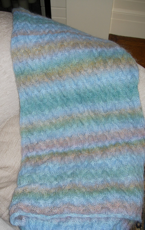 Mohair cabled throw