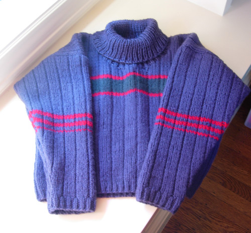 purple and red turtleneck
